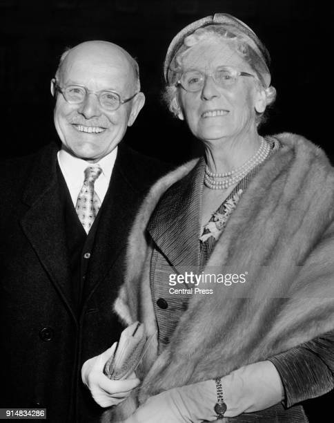 British construction entrepreneur John Laing arrives at Buckingham Palace in London with his wife Beatrice to receive his knighthood 10th February...