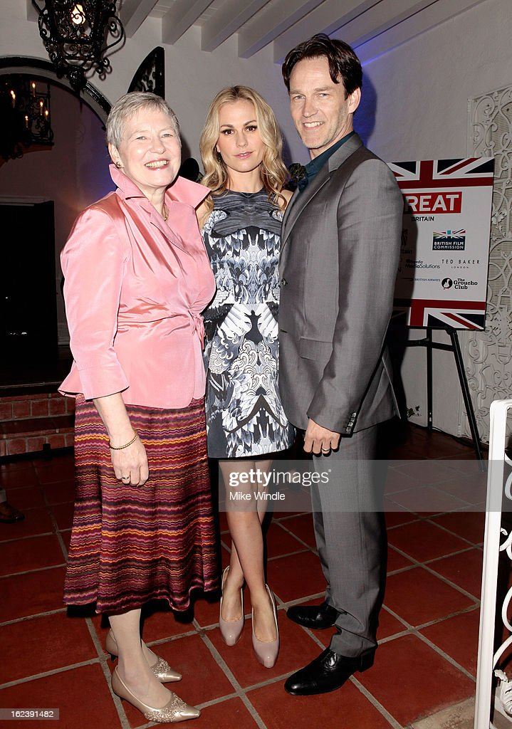 British Consul General Dame Barbara Hay and actors Anna Paquin and Stephen Moyer attend the GREAT British Film Reception at British Consul General's Residence on February 22, 2013 in Los Angeles, California.