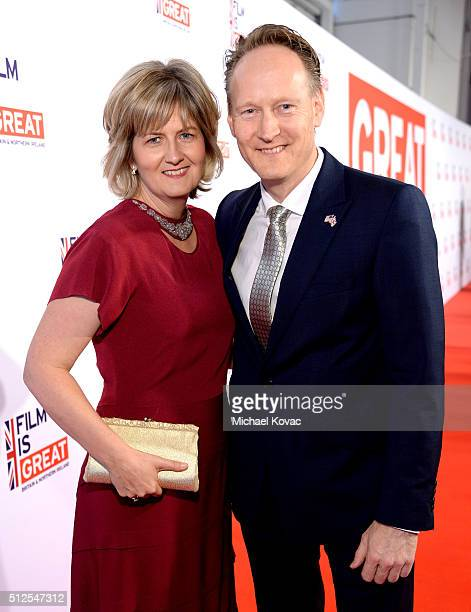 British Consul General in Los Angeles Chris O'Connor and wife Martha Nelems attend the Film is GREAT Reception at Fig & Olive on February 26, 2016 in...
