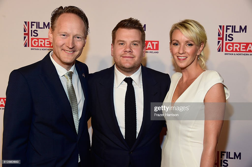 British Consul General in Los Angeles Chris O'Connor, James Corden and Julia Carey attend the Film is GREAT Reception at Fig & Olive on February 26, 2016 in West Hollywood, California.