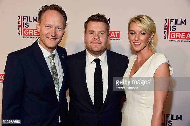 British Consul General in Los Angeles Chris O'Connor, James Corden and Julia Carey attend the Film is GREAT Reception at Fig & Olive on February 26,...