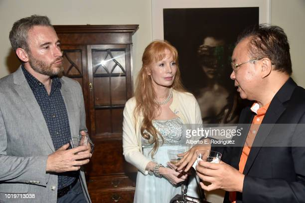 British Consul General to Los Angles Michael Howells actess Kimberly Kates and Dr Jimmy Jiang attend the BAFTALA Summer Garden Party at The British...