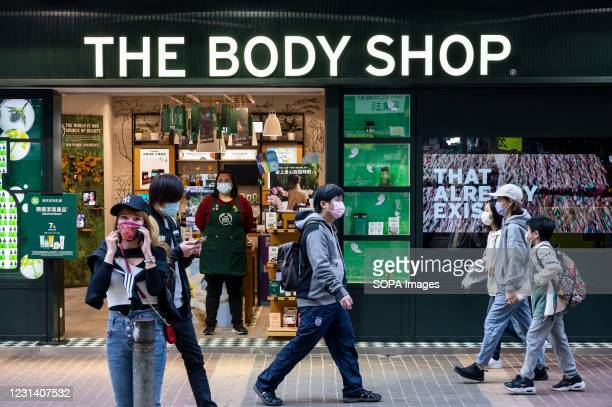 British cosmetics, skin care and perfume company, The Body Shop seen in Hong Kong.