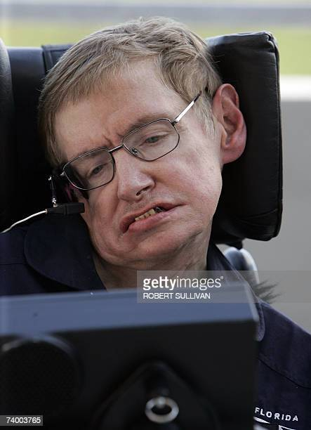 British cosmologist Stephen Hawking appears at a post flight press conference 26 April 2007 at Kennedy Space Center Florida Hawking fulfilled a dream...