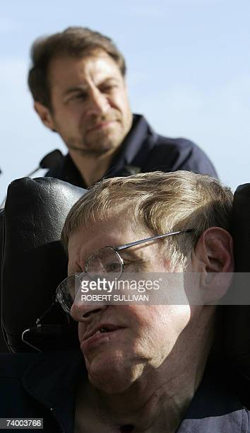 British cosmologist Stephen Hawking appears at a post flight press conference with Peter Diamandis chairman and CEO of Zero Gravity 26 April 2007 at...
