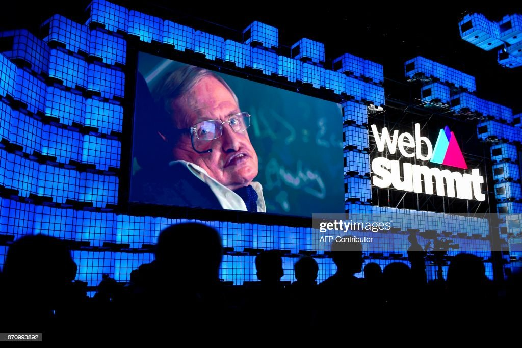 British cosmologist Stephen Hawking delivers a video message during the opening ceremony of the 2017 Web Summit in Lisbon on November 6, 2017. Europe's largest tech event Web Summit is being held at Parque das Nacoes in Lisbon from November 6 to November 9. /