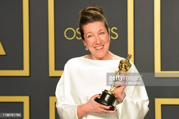 British costume designer Jacqueline Durran poses in the press room with the Oscar for Best Costume Design for Little Women during the 92nd Oscars at...