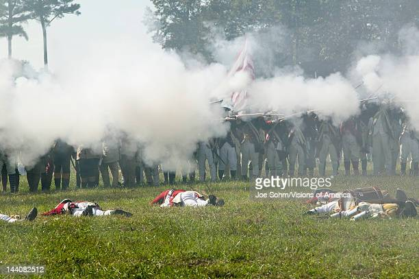 British counter attack stopped dead in its tracks in reenactment of Attack on Redoubts 9 10 where the major infantry action of the siege of Yorktown...