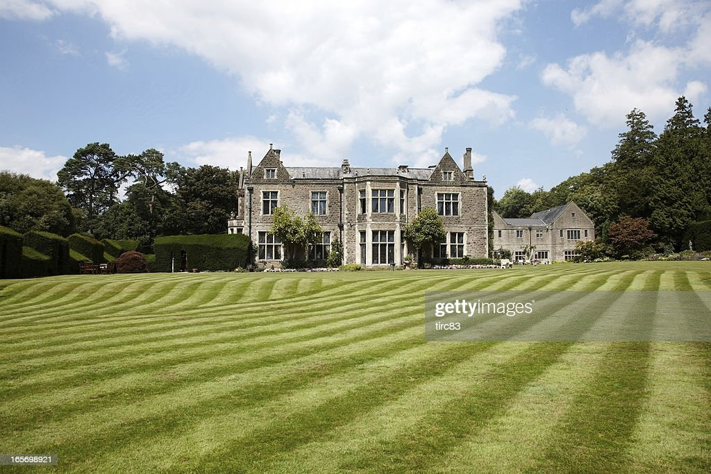 British Country Mansion Lawn View