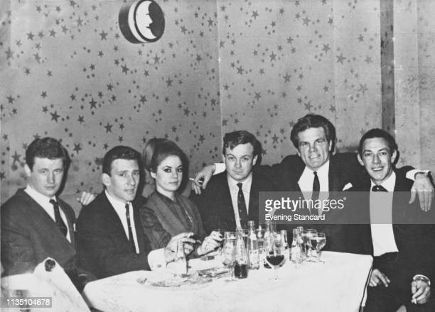 British criminal Reginald 'Reggie' Kray his wife Frances Shea British boxer Freddie Mills and others at a gala dinner UK circa 1965