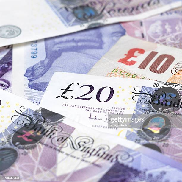 british currency notes - british pound sterling note stock pictures, royalty-free photos & images