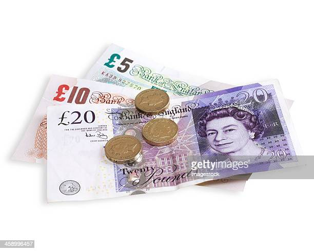 british currency - twenty pound note stock pictures, royalty-free photos & images
