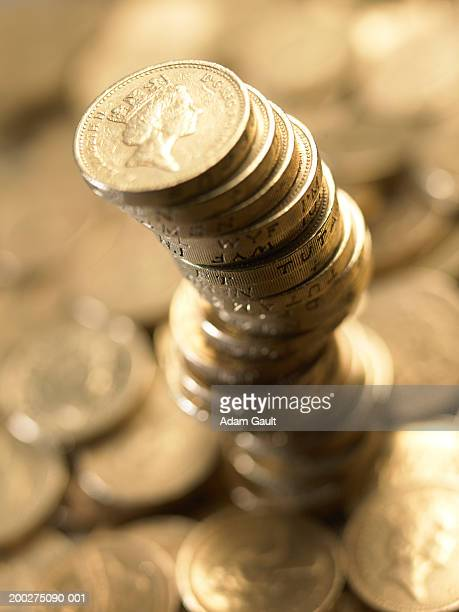 British Currency: Stacked pound coins, close-up