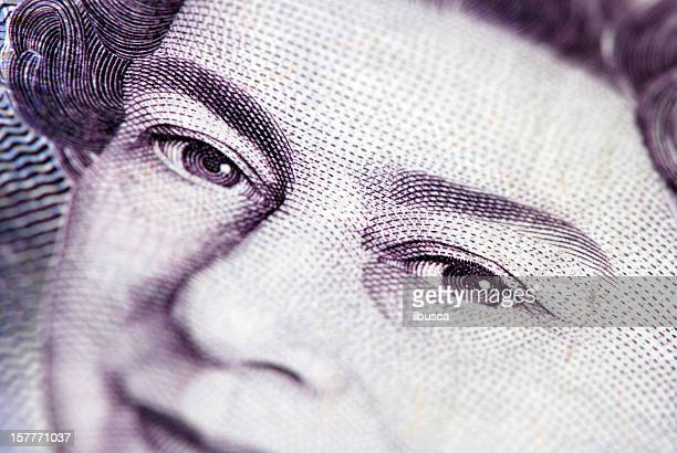 british currency with queen elizabeth the second portrait - british pound sterling note stock pictures, royalty-free photos & images