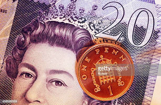 british currency with queen elizabeth the second portrait - twenty pound note stock photos and pictures