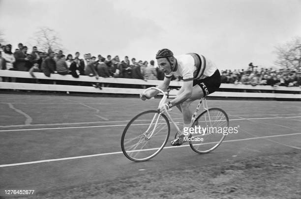 British cycling champion Hugh Porter takes part in a SCCU event at Herne Hill, UK, April 1966.