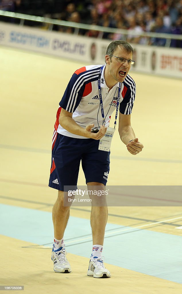 British Cycling Coach Paul Manning shouts encourage during day three of the UCI Track Cycling World Cup at the Sir Chris Hoy Velodrome on November 18, 2012 in Glasgow, Scotland.