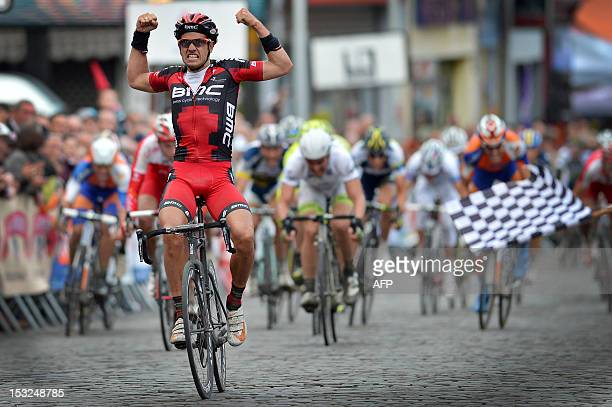 British cyclist Adam Blythe of BMC Racing Team celebrates as he crosses the finish line of the 3rd edition of the Memorial Frank Vandenbroucke /...