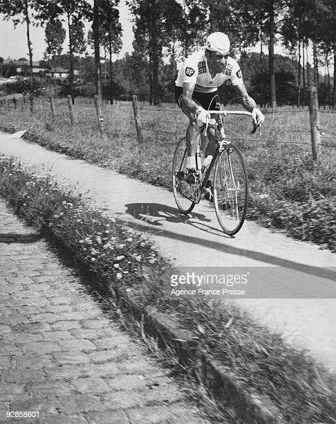 British cyclist Barry Hoban peddles away on a footpath during the third stage of the Tour de France 2nd July 1968