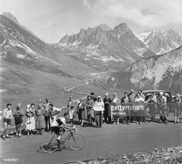 British cyclist Brian Robinson climbing the Col du Galibier during the ninth stage of the Tour de France between Briancon and Monaco 15th July 1955...
