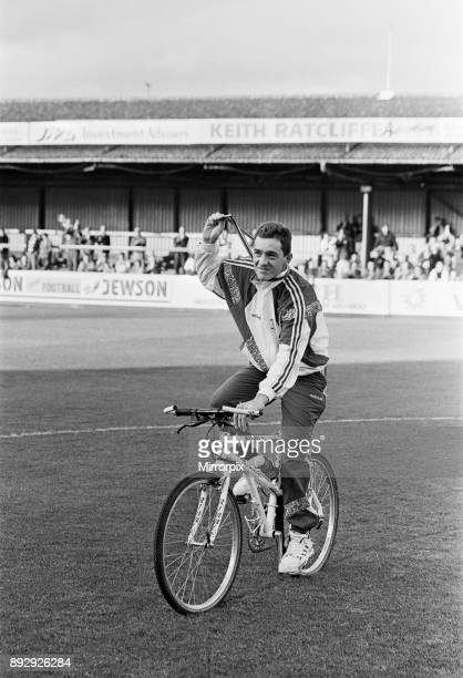 British cyclist Chris Boardman on the pitch at Prenton Park home ground of Tranmere Rovers following his return home from the 1992 Olympic Games in...