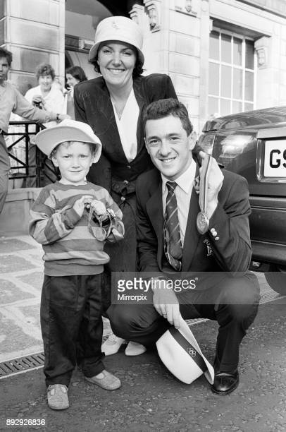 British cyclist Chris Boardman with his wife SallyAnne and their son Edward outside Wallasey Town Hall following his return home from the 1992...