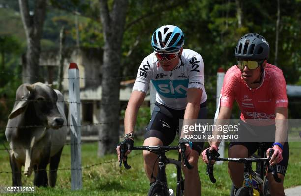 British cyclist Chris Froome rides next to Rigoberto Uran during the Giro de Rigo in San Rafael Antioquia Department on November 4 2018 The Giro de...