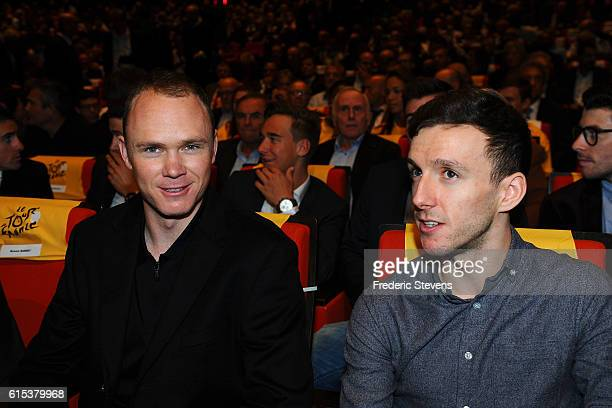 British cyclist Christopher Froome and British cyclist Adam Yates attend the presentation of the Tour de France 2017 on October 18 2016 in Paris...