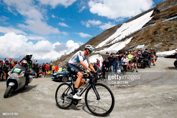 TOPSHOT British cyclist Christopher Froome rides on the Colle delle Finestre during the 19th stage from Venaria Reale to Bardonecchia during the...