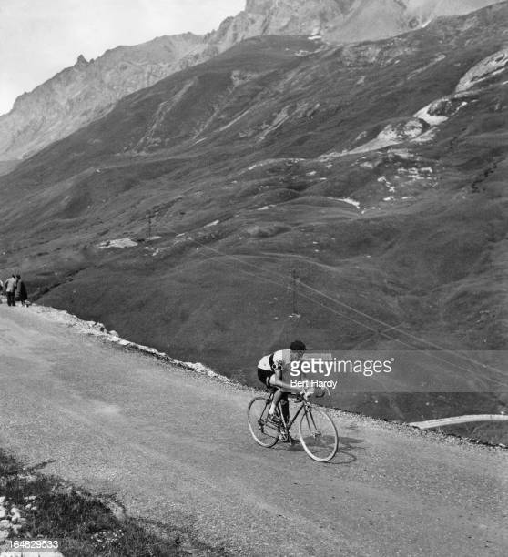 British cyclist Freddie Krebs on a mountain pass during the ninth stage of the Tour de France between Briancon and Monaco 15th July 1955 This is the...