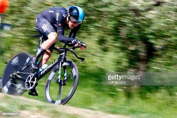 British cyclist Geraint Thomas from Team Sky rides during the 10th stage an individual timetrial between Foligno and Montefalco during the 100th Giro...