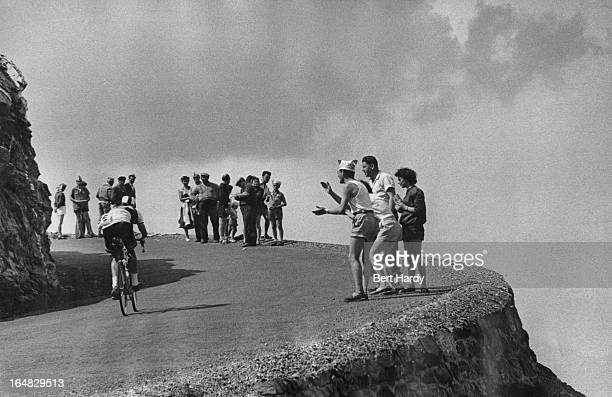 British cyclist Ken Mitchell climbing the Col du Galibier during the ninth stage of the Tour de France between Briancon and Monaco 15th July 1955...