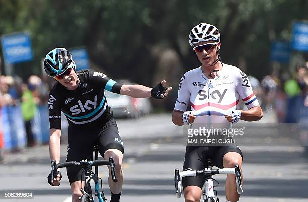 British cyclists Christopher Froome and Peter Kennaugh of Team Sky come to the finish line together in stage one of the 2016 Herald Sun Tour cycling...