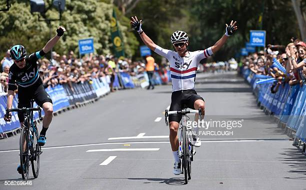 British cyclists Christopher Froome and Peter Kennaugh of Team Sky cross the finish line together in stage one of the 2016 Herald Sun Tour cycling...