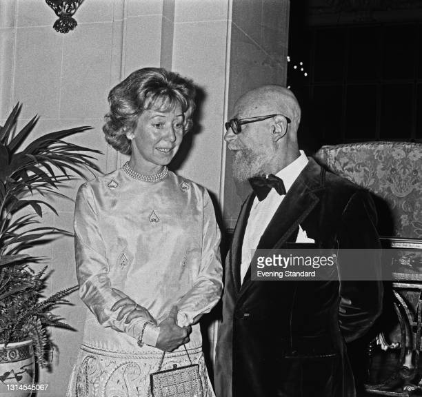 British dance critic Arnold Haskell attends a dinner in his honour at the Ritz Hotel in London, UK, 23rd September 1973. He is pictured with South...
