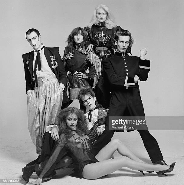 British dance mime and pop group Shock 1980 Clockwise from left Tim Dry Barbie Wilde LA Richards Robert Pereno Sean Crawford and Carole Caplin Dry...