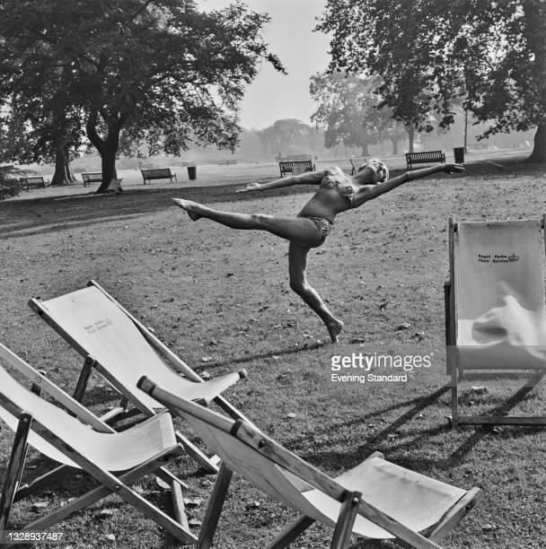 British dancer and choreographer Margaret Morris dancing in a London park, UK, 16th October 1965.