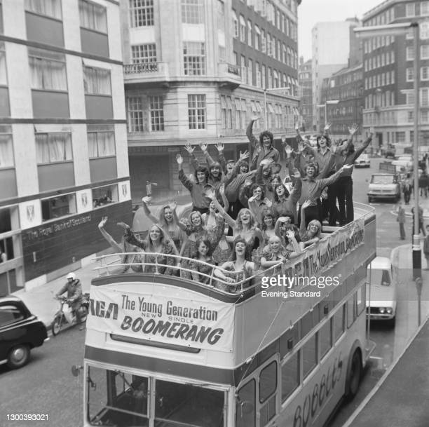 British dancing and singing group The Young Generation on an open-topped bus to promote their new single 'Boomerang' from the RCA label, UK, 30th...