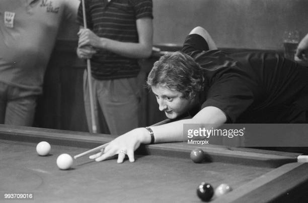 British dart player Eric Bristow pictured at the pub enjoying a game of snooker November 1984