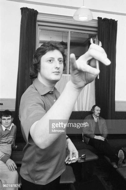British dart player Eric Bristow the newly crowned world champion in action at a pub in Llandudno North Wales shortly after the championships 17th...