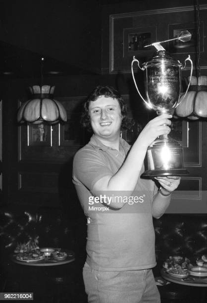 British darts player Eric Bristow celebrates his victory over John Lowe in the Final of the 1981 Embassy World Darts Championship at Jollees Cabaret...