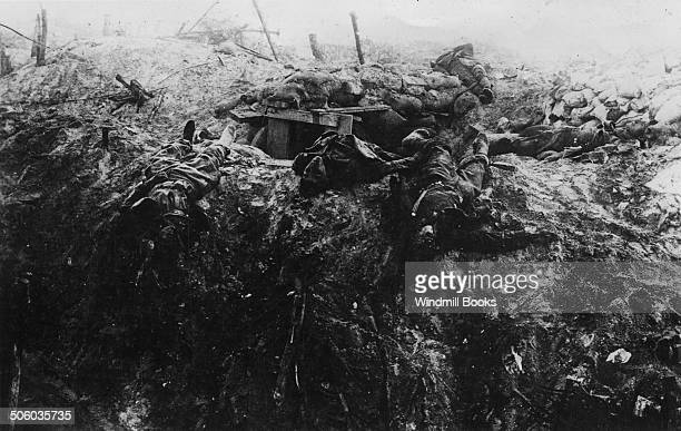 British dead outside a dugout in a trench Somme Area British Front France General Battle Somme