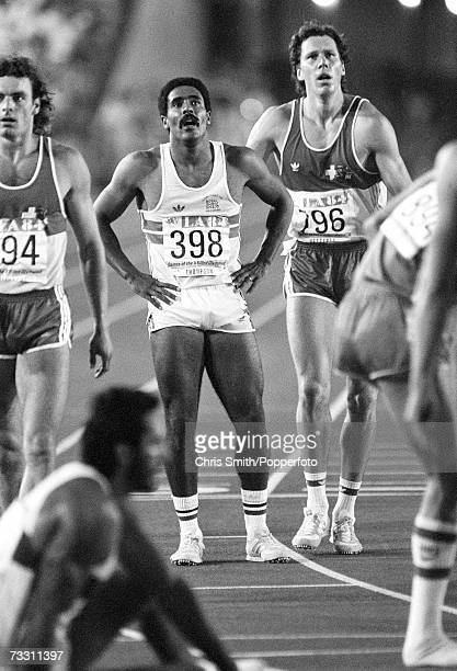 British decathlete Daley Thompson waiting to see the results of a track race during his event at the Los Angeles 1984 Olympics August 1984 He won the...