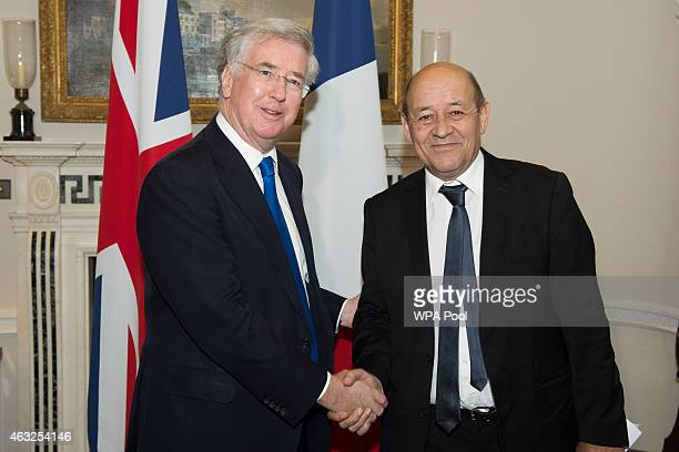 British Defence Minister Michael Fallon meets with French Defence Minister JeanYves Le Drian on February 12 2015 in London United Kingdom
