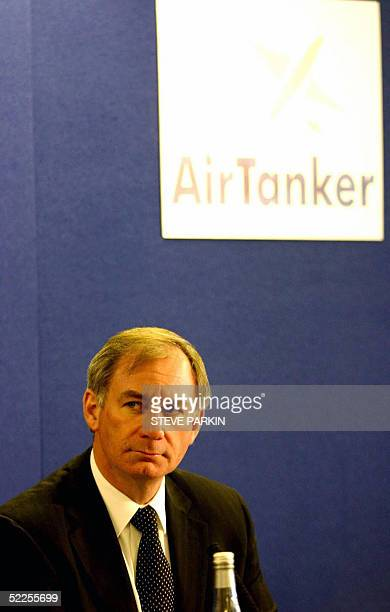 British Defence Secretary Geoff Hoon gives a press conference at a base of EADS unit Airbus in Broughton Wales 28 February 2005 Britain announced...