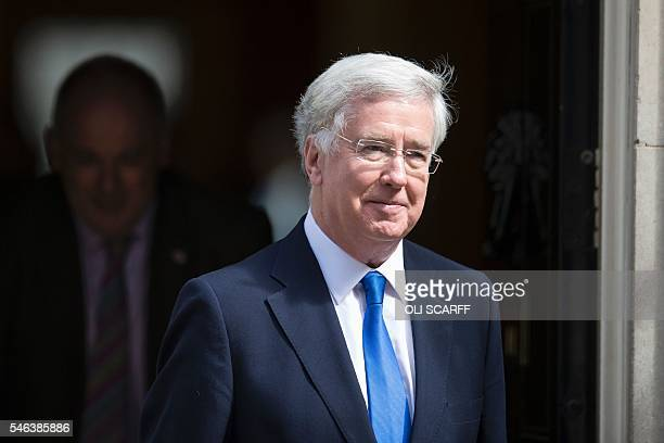 British Defence Secretary Michael Fallon leaves 10 Downing Street in London on July 12 after attending Prime Minister David Cameron's last Cabinet...