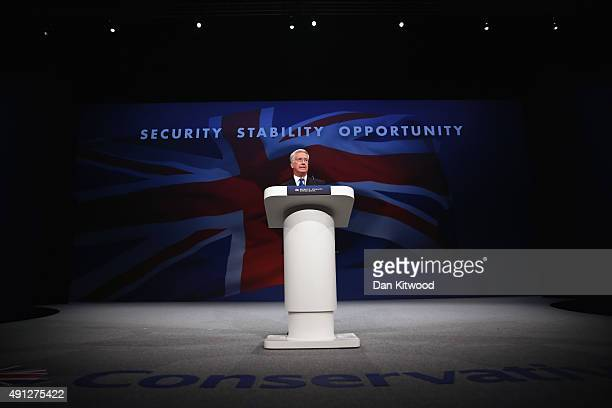 British Defence Secretary Michael Fallon speaks during day one of the Conservative Party Conference on October 4 2015 in Manchester England Up to...