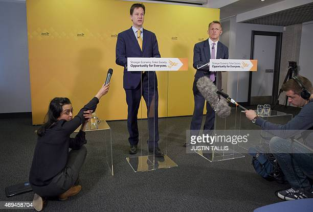 British Deputy Prime Minister and leader of the Liberal Democratic Party Nick Clegg and Minister of State for Schools David Laws outline the Liberal...