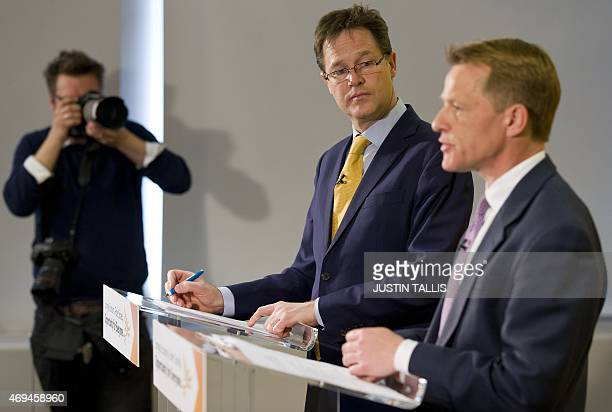 British Deputy Prime Minister and leader of the Liberal Democratic Party Nick Clegg and Minister of State for Schools David Laws give a speech...