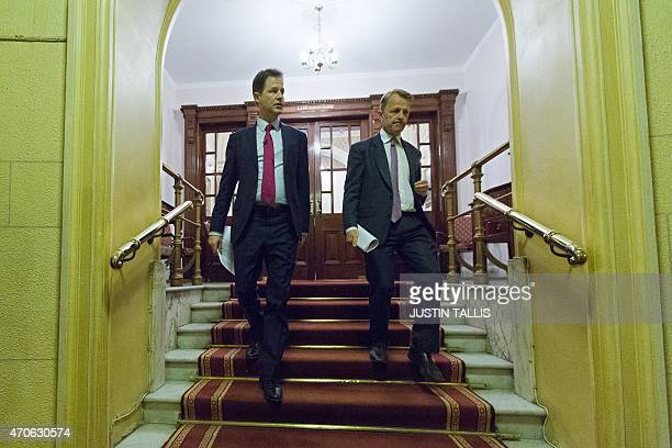 British Deputy Prime Minister and leader of the Liberal Democratic Party Nick Clegg and Minister of State for Schools David Laws arrive to launch...